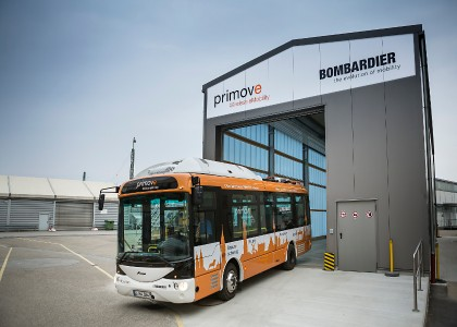 primove bus on service in Mannheim, Germany.