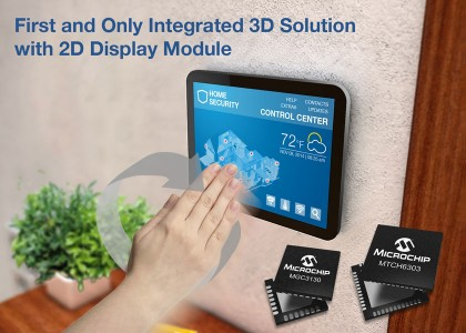 Microchip_3D_Display-420x300 Kit di sviluppo per 2D Projected Capacitive Touch (PCAP) e 3D gestures integrati su display