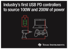Texas Instruments annuncia due nuovi controller USB Type-C e USB Power Delivery (PD), da 100 e 200 W